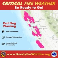 Graphic that shows areas in CA with critical fire weather.
