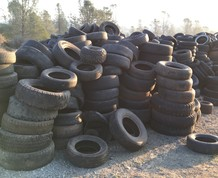Tires in a pile.