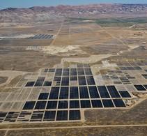 Solar fields in a dry valley.