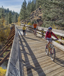 A family riding bicycles across a wooden bridge.