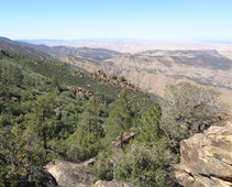 View of a forested rocky mountain valley.