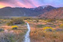 Mountain range at sunset.