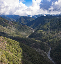 A green mountainous valley.