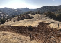 Rolling hills with dirt trails carved into them.
