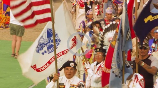 Veterans and tribal members at a ceremony