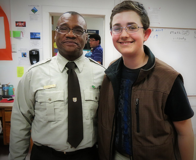 Project Leader Rod May with Neosho NFH and Kohlman a student he mentored creating Fishing Club