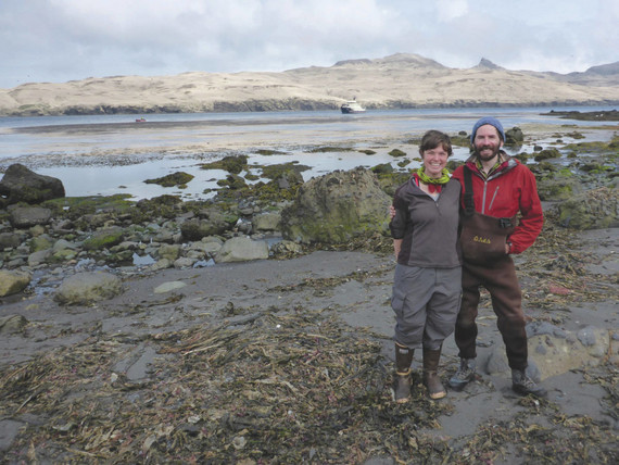 Biologists on Aiktak Island in the eastern Aleutians . (Photo by Sarah Youngren)