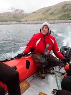 David, deckhand, aboard a skiff