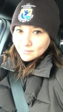 Julie Timmer close up wearing FWS hat
