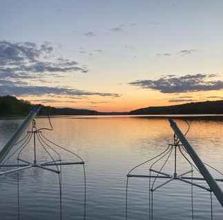 a boat electrofishing at sunset on inland lake