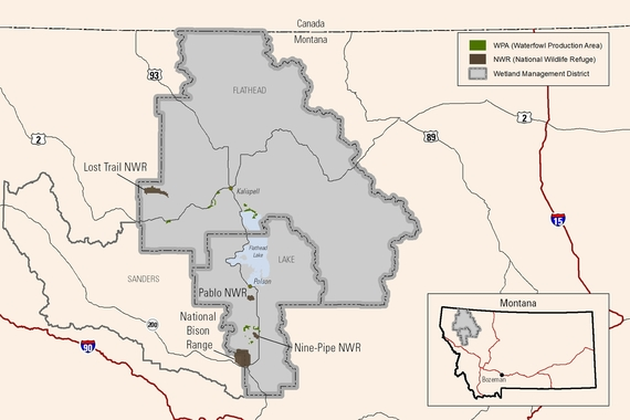 A map of the National Bison Range Complex  in Montana by USFWS