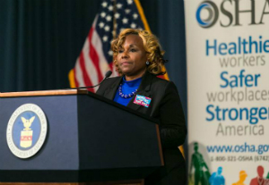 At the OSHA event held in Washington, D.C., Emergency Response Team Coordinator Duronda Pope described her experiences helping the families of workers killed on the job.