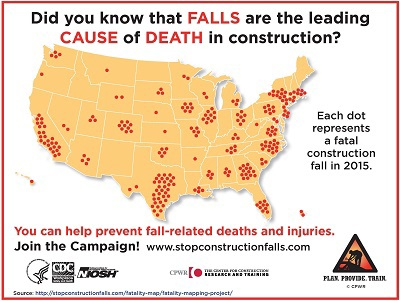Stop falls infographic: Map of the U.S. with dots representing fatal construction falls in 2015. Did you know that FALLS are the leadiing CAUSE of DEATH in construction? You can prevent fall-related deaths and injuries. Join the Campaign! www.stopconstructionfalls.com