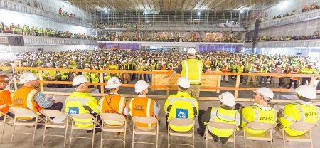 More than 1,900 workers participated in a stand-down event  at the construction site of the MGM Casino in Oxon Hill, Md.