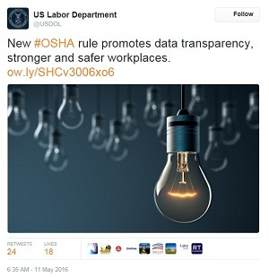 data transparency tweet  - US Labor Department @USDOL New #OSHA rule promotes data transparency, stronger and safer workplaces. ow.ly/SHCv3006xo6