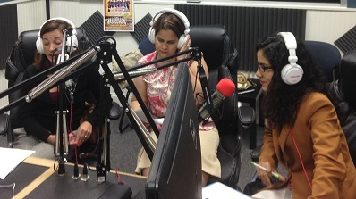 An August 24 broadcast at radio La Que Buena Atlanta 101.9 FM promoting Labor Rights Week. From left: Rachel Mast of DOL's Wage and Hour Division, Mast of DOL's Wage and Hour Division, Marilyn M. Velez of OSHA and Fabiola Jimenez-Moran of the Consulate General of Mexico in Atlanta