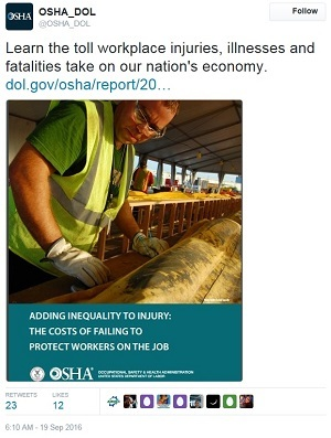 inequality tweet  - @OSHA_DOL Learn the toll workplace injuries, illnesses and fatalities take on our nation's economy. dol.gov/osha/eport/20150304-inequality.pdf