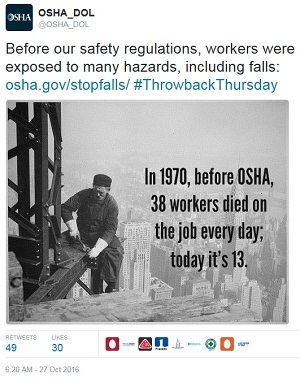 ThrowbackThursday tweet  - @OSHA_DOL Before our safety regulations, workers were exposed to many hazards, including falls: osha.gov/stopfalls/ #ThrowbackThursday In 1970, before OSHA, 38 workers died on the job every day; today it's 13.