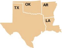 Arkansas, Louisiana, Oklahoma and Texas