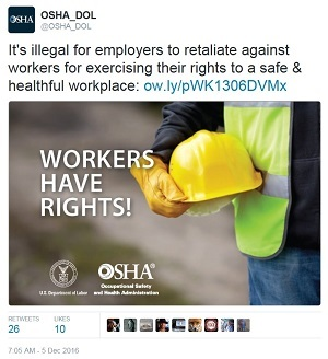 @OSHA_DOL It's illegal for employers to retaliate against workers for exercising their rights to a safe & healthful workplace: ow.iy/pWK1306DVMx Workers Have Rights!