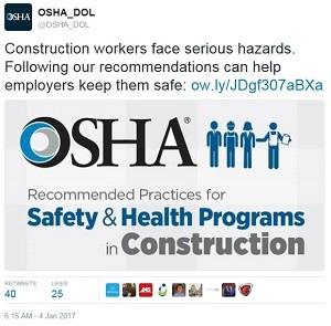 @OSHA_DOL Construction workers face serious hazards. Following our recommendations can help employers keep them safe: ow.lyJDgf307aBXa OSHA Recommended Practices for Safety & Health Programs in Construction