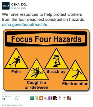 fatal four tweet @OSHA_DOL We have resources to help protect workers from the four deadliest construction hazards: osha.gov/dte/outreach/c... Focus Four Hazards: Falls, Caught-In or -Between, Struck-by, Electrocution