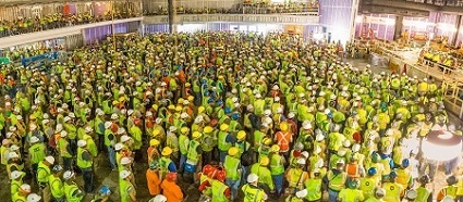 Last year, more than 1,900 workers participated in a stand-down event at the construction site of the MGM Casino in Oxon Hill, Md.
