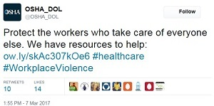 healthcare tweet @OSHA_DOL Protect the workers who take care of everyone else. We have resources to help: ow.ly/skAc307kOe6 #healthcare #WorkplaceViolence