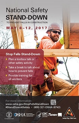 National Safety Stand-Down to Prevent Falls in Construction: May 8-12, 2017