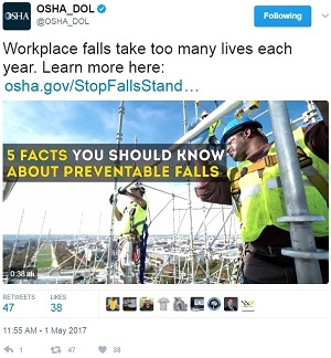 stand-down tweet @OSHA_DOL Workplace fals take too many lives each year. Learn more here: https://www.osha.gov/StopFallsStandDown/