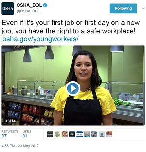 Young Workers tweet @OSHA_DOL  Even if it's your first job or first day on a new job, you have the right to a safe workplace! https://www.osha.gov/youngworkers/