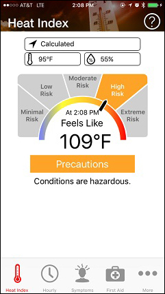 OSHA-NIOSH Heat Safety Tool app. Heat Index ?. Calculated. 95*F 55%. Minimal Risk, Low Risk, Moderate Risk, High Risk, Extreme Risk. Arrow pointing to High Risk. At 2:08PM  Feels like 109*F. Precautions. Conditions are hazardous. Heat Index, Hourly, Symptoms, First Aide, More.