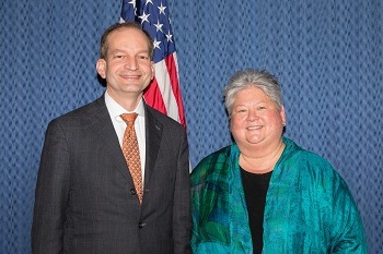 Secretary of Labor R. Alexander Acosta with retiring Deputy Assistant Secretary for Occupational Safety and Health Dorothy Dougherty.