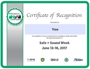Safe + Sound Week participant certificate