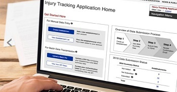 web-based form for submitting injury and illness data