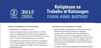 Job Safety and Health−It's the Law Poster is Now Available in Tagalog