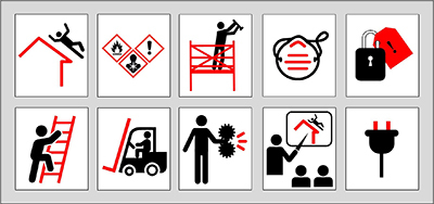 Top from left: Fall Protection, Hazard Communication, Scaffolding, Respiratory Protection, Lockout/Tagout Bottom from left: Ladders, Powered Industria