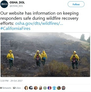 Our website has information on keeping responders safe during wildfire recovery efforts: https://www.osha.gov/dts/wildfires/response.html … #Californi