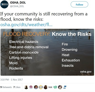 If your community is still recovering from a flood, know the risks: https://www.osha.gov/dts/weather/flood/index.html