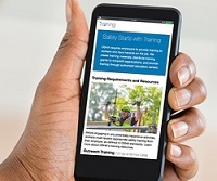 OSHA's redesigned training webpage on a mobile phone.