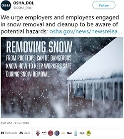 We urge employers and employees engaged in snow removal and cleanup to be aware of potential hazards: https://t.co/JoaXT7MUcD Removing snow from rooftops can be dangerous. Know how to keep workers safe during snow removal.