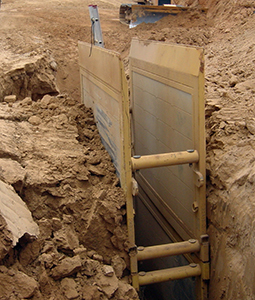 This trench box saved an employee's life when the dirt walls around him collapsed. Photo credit: Underground Safety Equipment/NAXSA