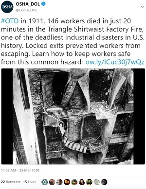 @OSHA_DOL #OTD in 1911, 146 workers died in just 20 minutes in the Triangle Shirtwaist Factory Fire, one of the deadliest industrial disasters in U.S. history. Locked exits prevented workers from escaping. Learn how to keep workers safe from this common hazard: http://ow.ly/ICuc30j7wQz