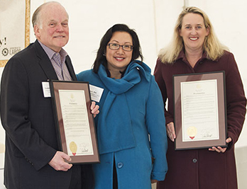 The Missouri governor's proclamation designating April 9-13 Stand-Up for Grain Engulfment Prevention Week. From left: Randall Gordon, president and CEO, National Grain and Feed Association; Anna Hui, director, Missouri Dept. of Labor and Industrial Relations; Loren Sweatt, deputy assistant secretary, OSHA.