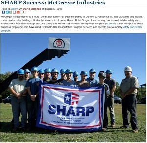 Featured blog post: SHARP Success: McGregor Industries https://blog.dol.gov/2018/03/20/sharp-success-mcgregor-industries