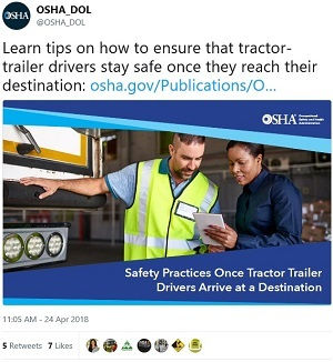 @OSHA_DOL Learn tips on how to ensure that tractor-trailer drivers stay safe once they reach their destination: https://www.osha.gov/Publications/OSHA3944.pdf