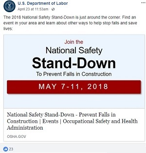 The 2018 National Safety Stand-Down is just around the corner. Find an event in your area and learn about other ways to help stop falls and save lives: https://www.osha.gov/StopFallsStandDown/calendar.html