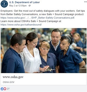 Employers: Get the most out of safety dialogues with your workers. Get tips from Better Safety Conversations, a new Safe + Sound Campaign product: https://www.osha.gov/safeandsound/docs/SHP_Better-Safety-Conversations.pdf.   Learn more about OSHA's Safe + Sound Campaign at https://www.osha.gov/safeandsound/