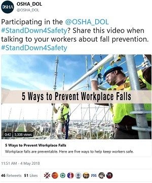 Participating in the @OSHA_DOL #StandDown4Safety? Share this video when talking to your workers about fall prevention. #StandDown4Safety