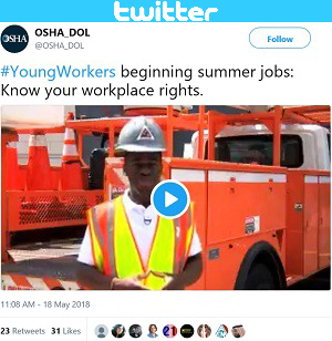 Twitter post: #YoungWorkers beginning summer jobs: Know your workplace rights.